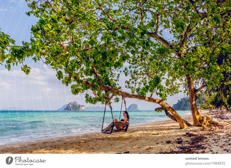 FF# timeless Art Esthetic Paradise Paradisical Woman Relaxation Beach Thailand Wanderlust Tourism Idyll Colour photo Multicoloured Exterior shot Close-up
