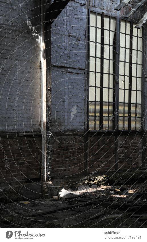 Light barrier [LUsertreffen 04|10] Deserted Industrial plant Factory Ruin Hideous Derelict Joist Hope Phenomenon Window Lattice window Masonry Wall (barrier)