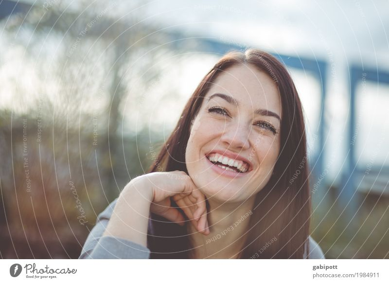 Portrait of a laughing woman Beautiful Life Human being Feminine Young woman Youth (Young adults) Adults 1 18 - 30 years 30 - 45 years Black-haired Brunette