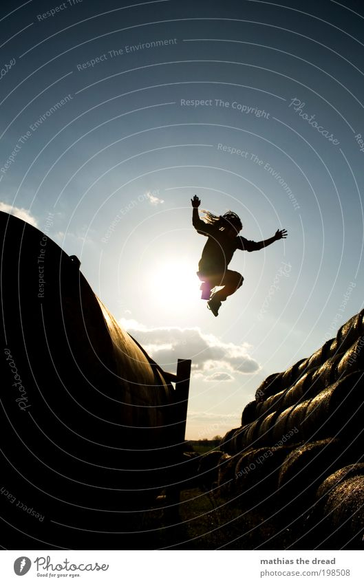 Human being Nature Youth (Young adults) Summer Clouds Adults Environment Landscape Playing Movement Jump Horizon Field Leisure and hobbies Flying Masculine