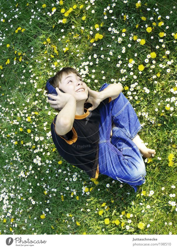 Human being Child Summer Joy Relaxation Boy (child) Meadow Spring Garden Music Laughter Dream Masculine Free Sit