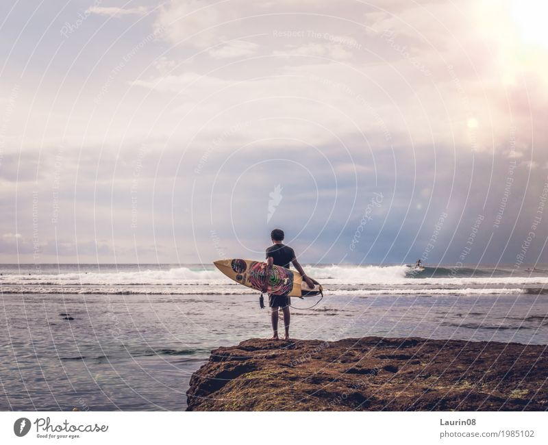 Surfer waiting for the perfect wave Leisure and hobbies Surfing Vacation & Travel Adventure Far-off places Freedom Summer Ocean Island Waves Sports Aquatics