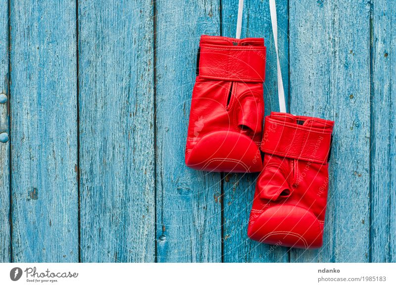 pair of red boxing gloves hanging on a nail Sports Sporting event Success Gloves Wood Old Hang Retro Blue Red Competition Object photography Kick copy power