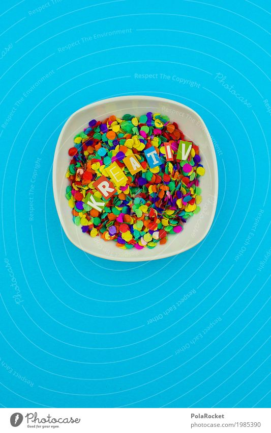 #AS# Creativity for breakfast? Joy Art Work of art Happy Multicoloured Point Confetti Bowl Blue R E T I V White Handicraft Breakfast Colour photo Interior shot
