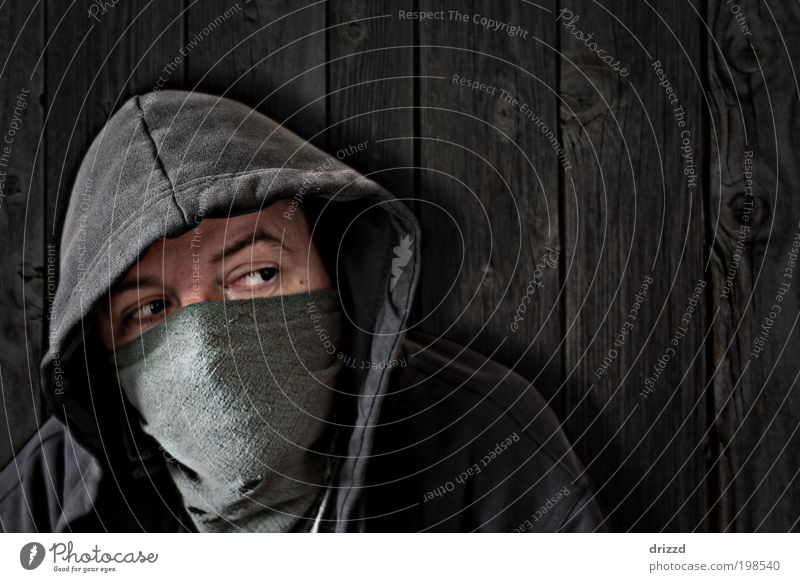 disguised Human being Masculine Man Adults Face Eyes 1 Jacket Mask Black Independence Hooded (clothing) Masked Rag Concealed Wall (building) boards Wooden board
