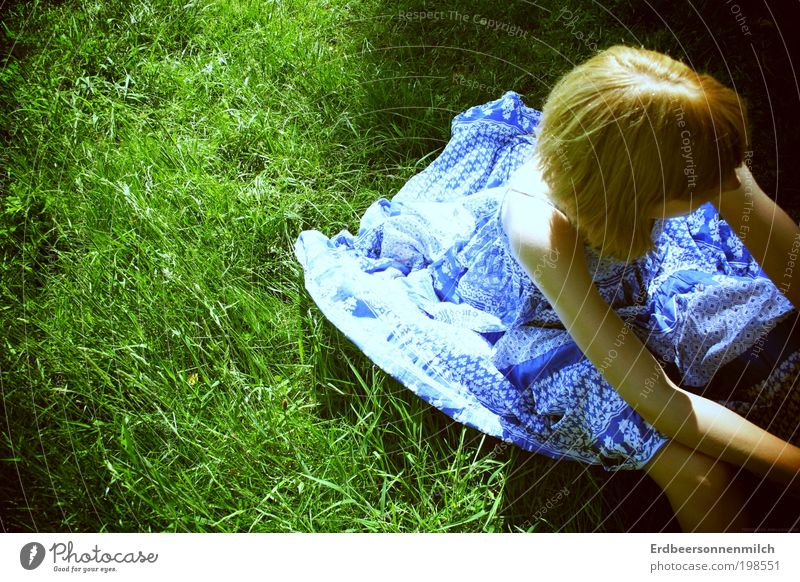 I'm sitting here Summer Sun Child Student Feminine Back 1 Human being Dress Blonde Short-haired Breathe Observe To enjoy Crouch Looking Sadness Elegant Exotic