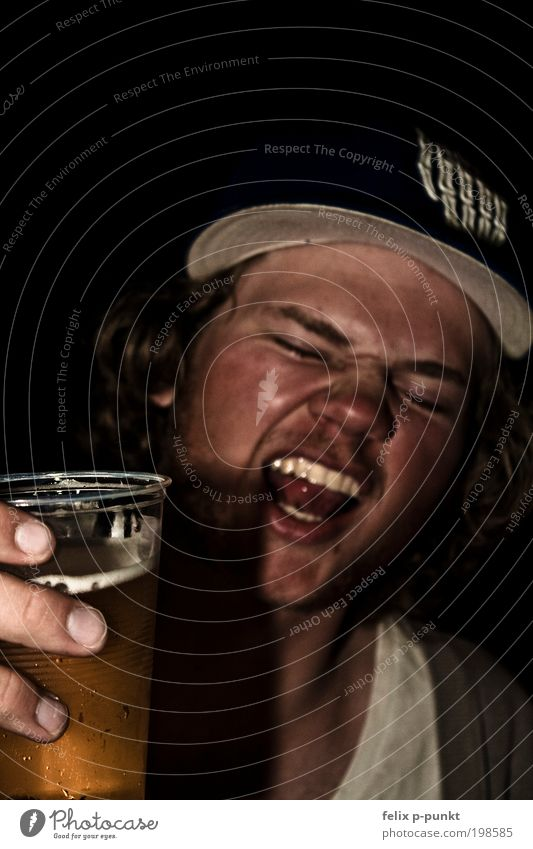 Human being Hand Face Dark Head Hair and hairstyles Party Dirty Modern Masculine Lifestyle Drinking Beer Illness Hat Scream