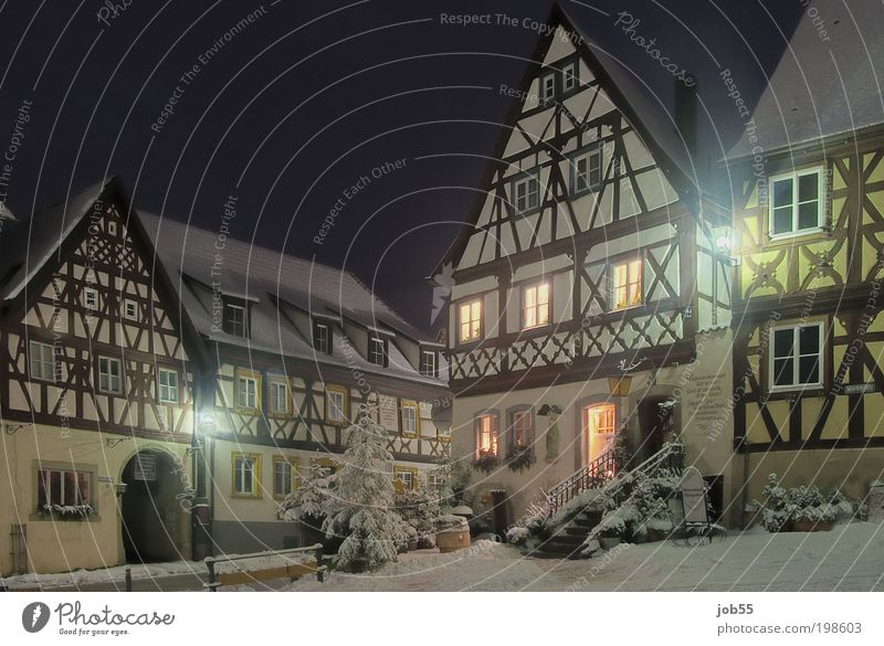 Old Beautiful Winter Black House (Residential Structure) Snow Brown Germany Gold Facade Esthetic Europe Village Historic Street lighting Marketplace