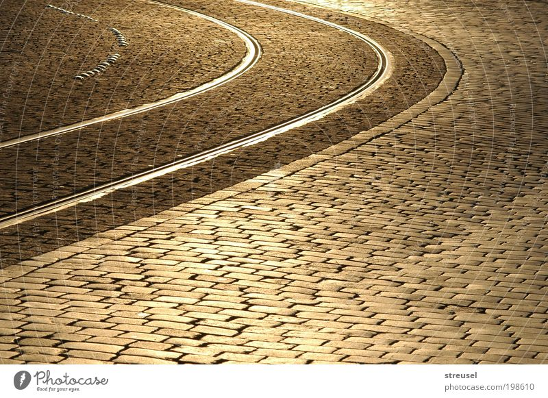 golden alleys Town Old town Deserted Places Traffic infrastructure Road traffic Street Lanes & trails Rail transport Railroad tracks Beautiful Calm Cleanliness