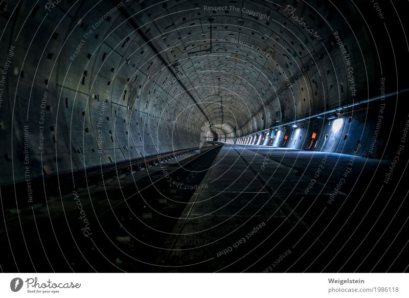 subway tunnel Tunnel Public transit Underground Concrete Steel Dark Blue Gray Green Orange Loneliness End Horizon Underground tunnel Pipe Colour photo