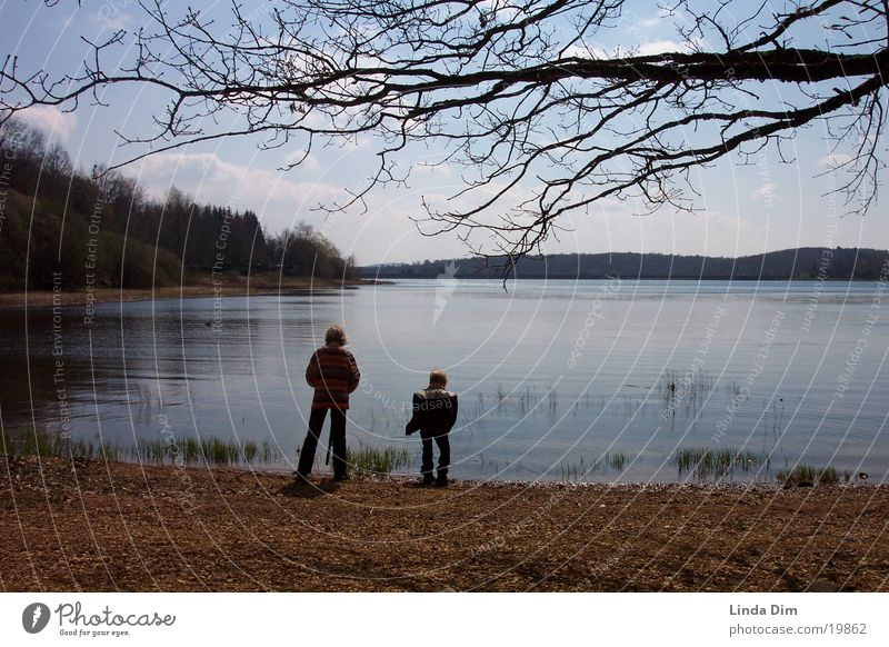Children at the lake France Vosges Mountains Still Life Lake Calm Moody Spring Vacation & Travel Plain Europe Landscape Nature