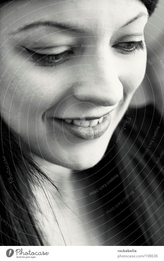 Woman smiles Feminine Young woman Youth (Young adults) Black-haired Long-haired Smiling Laughter Sharp-edged Friendliness Happiness Fresh Uniqueness Positive