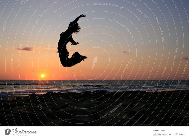 Human being Youth (Young adults) Sun Vacation & Travel Ocean Summer Beach Joy Adults Feminine Freedom Movement Jump Coast Horizon Waves