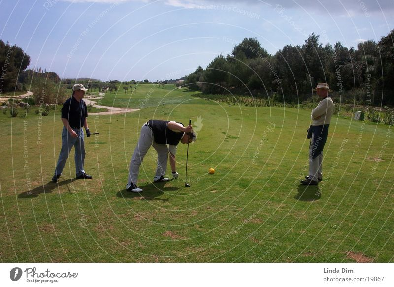 Tee shot on 5th hole Majorca Tee off Golf course Man Spain Sports Human being Landscape Nature Vacation & Travel
