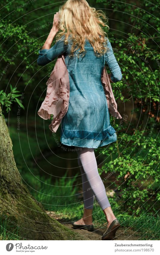 Woman Human being Nature Youth (Young adults) Beautiful Tree Blue Summer Forest Life Feminine Grass Fashion Blonde Adults Walking