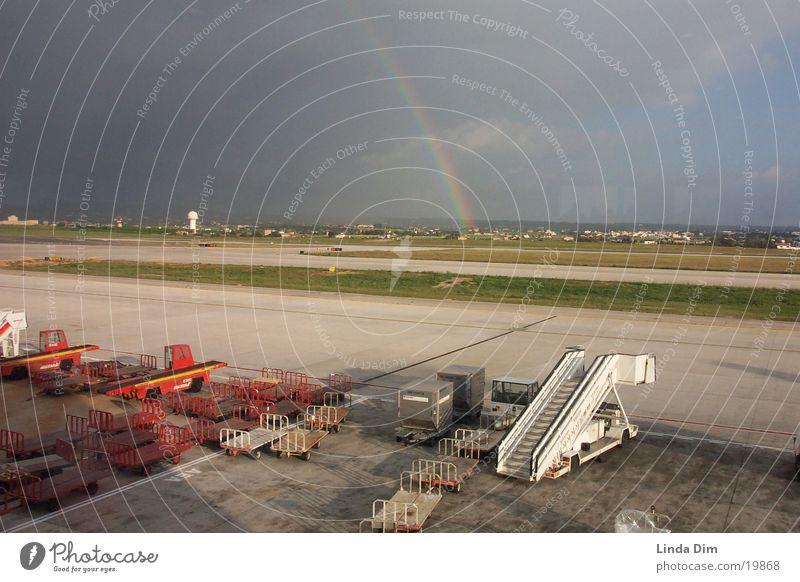 Nature Sun Vacation & Travel Airplane Europe Airport Storm Rainbow Majorca Runway Raincloud