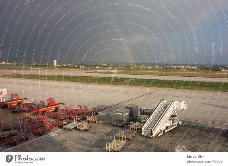 Rainbow 02 Storm Majorca Airplane Vacation & Travel Europe Sun Raincloud Airport Runway Nature