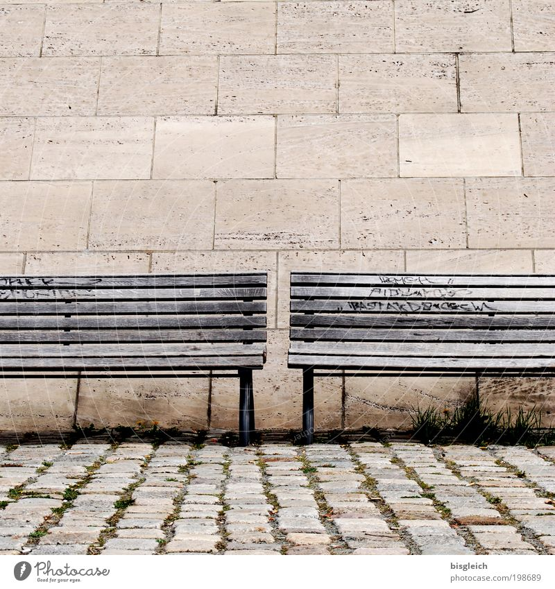 banking secrecy Retirement Closing time Bench Stone Wood Relaxation Brown Calm Loneliness Serene Colour photo Subdued colour Exterior shot Deserted