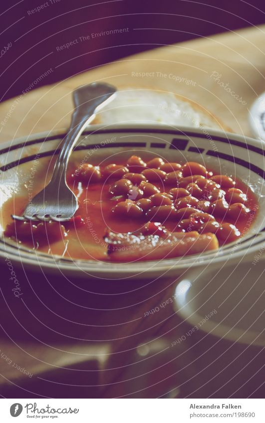 Baked Beans II Breakfast Lunch baked beans Retro Plate Edge of a plate Fork Cutlery Breakfast table Cup Photos of everyday life Bacon English Colour photo
