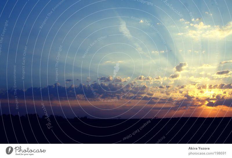 Sky Sun Blue Red Black Clouds Yellow Landscape Horizon Hope Esthetic Romance Exceptional Nature Belief Sunrise