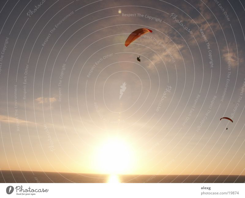 Paragliding in the sunset at the sea Paraglider Sunset Ocean Sports Flying San Diego County Torrey Pines Gliderport