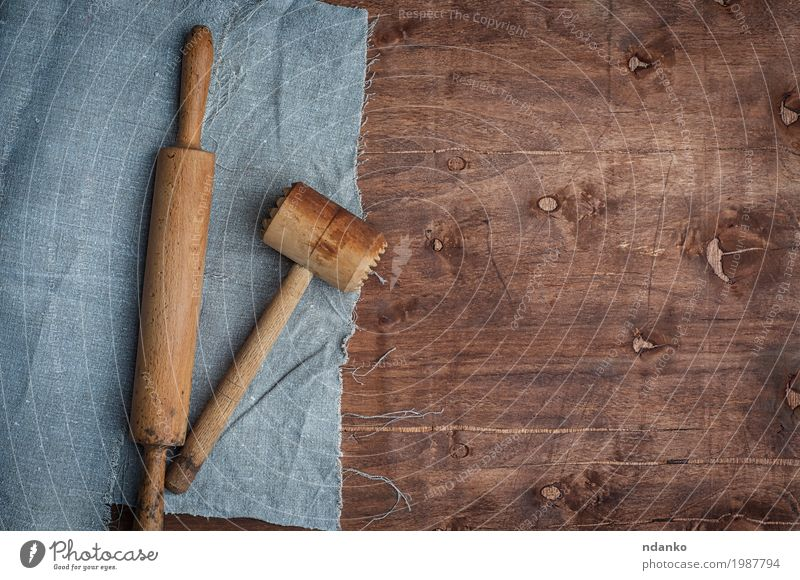 Wooden kitchen items skalka and hammer for beating meat Table Kitchen Restaurant Hammer Cloth Old Above Brown Tablecloth roll Vantage point housewares plunger
