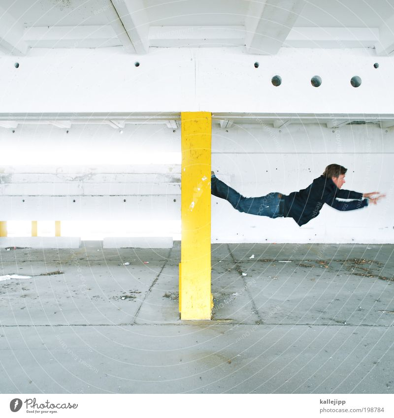 Keep me hangin' on Human being Masculine Man Adults 1 Athletic Parkour Climbing Jump Hop Weightlessness Fly Superman Colour photo Multicoloured Interior shot