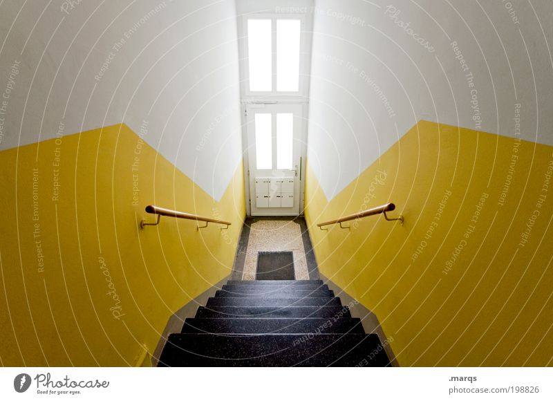 front door Lifestyle Design Living or residing Flat (apartment) Interior design Stairs Mailbox Banister Front door Architecture Illuminate Esthetic Large Yellow