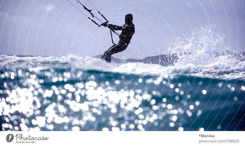 Kiters in Sardinia Summer Sun Ocean Waves Sports Aquatics Sportsperson kiteboarding 1 Human being Water Drops of water Athletic Hip & trendy Wet Blue Joy