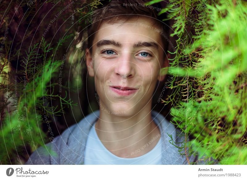 Portrait in the bush Lifestyle Style Joy Beautiful Harmonious Well-being Contentment Senses Relaxation Human being Masculine Young man Youth (Young adults) Face