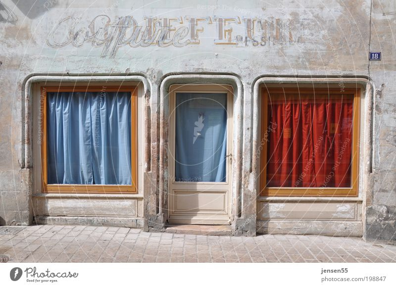 Old Blue City Red Calm House (Residential Structure) Street Window Hair and hairstyles Building Warmth Human being Historic Trade Old town Shop window