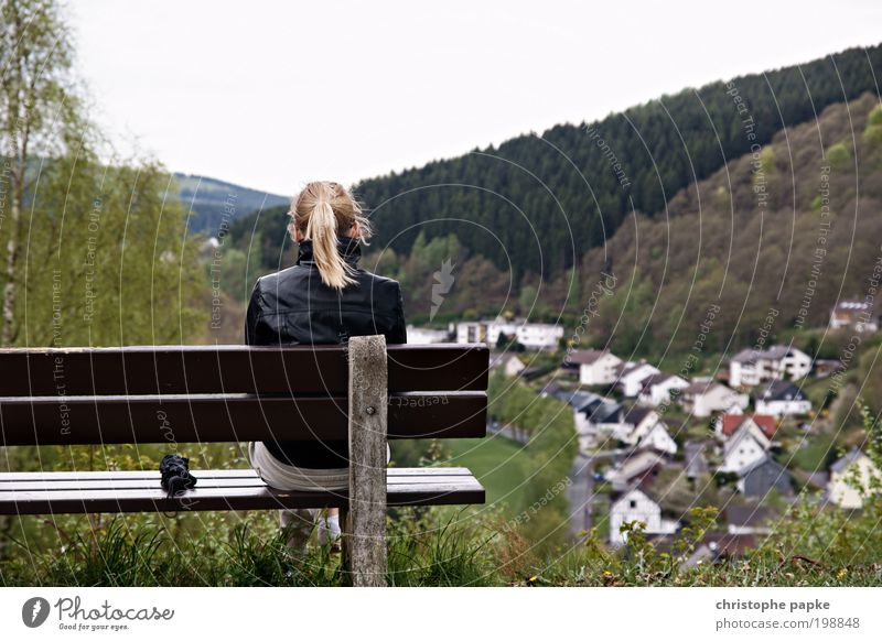 Human being Youth (Young adults) Far-off places Forest Relaxation Mountain Freedom Landscape Blonde Adults Wind Trip Sit Break Bench Vantage point