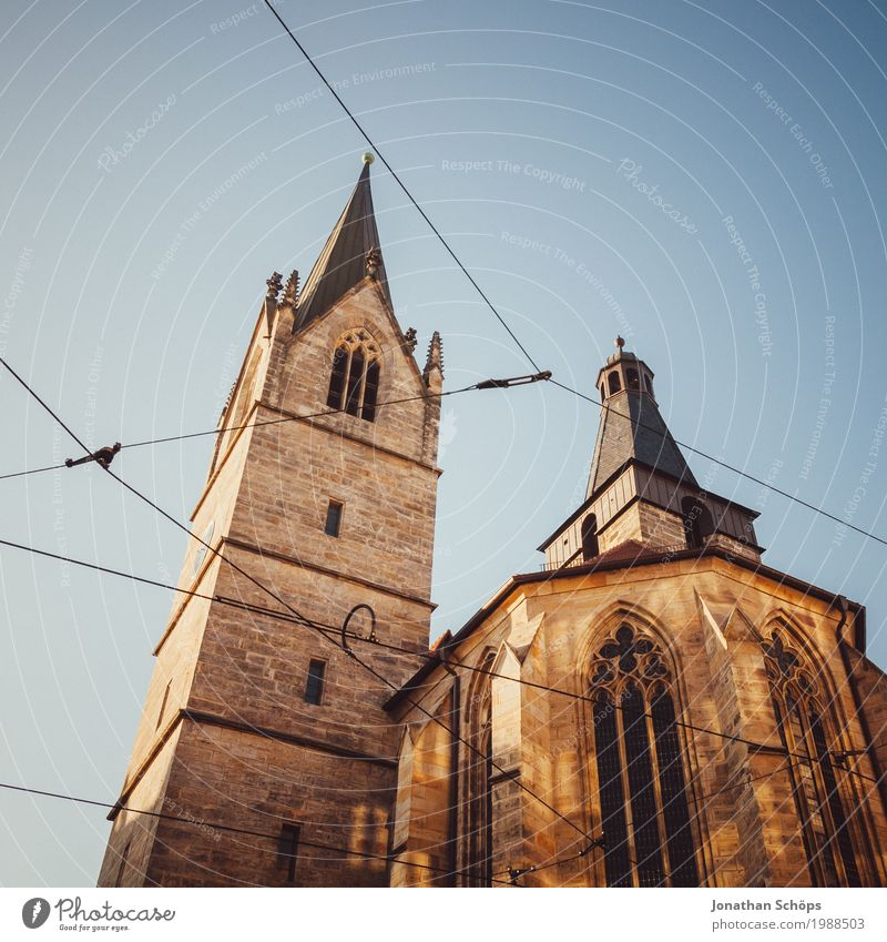 Kaufmannskirche Erfurt I 500 Christianity Protestantism Religion and faith God Jubilee Martin Luther Orientation Reform Winter Worm's-eye view Tram Upward