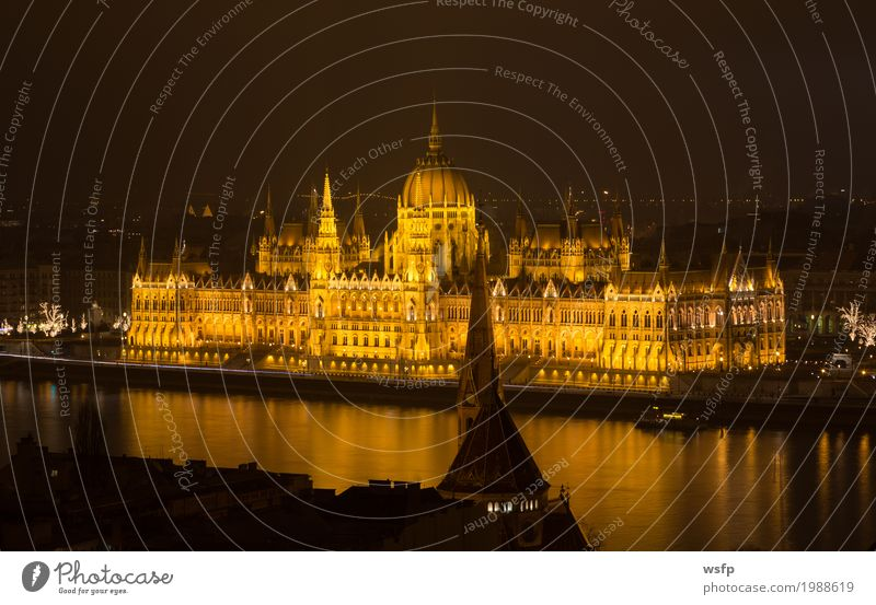 Hungarian Parliament Budapest at night Tourism Water Town Architecture Historic Lighting Lock Hungary City Danube travel Attraction pestilence panorama Night