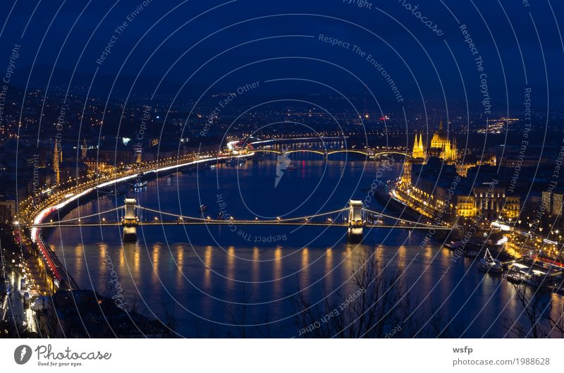 Chain bridge Hungary Budapest at night Tourism Town Architecture Historic Suspension bridge Lighting City Danube Attraction pestilence Night Parliament Lock