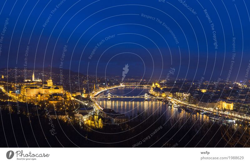 Hungary Budapest by Night Panorama Tourism Town Architecture Historic Castle palace Suspension bridge Lighting City Danube Attraction pestilence Parliament Lock