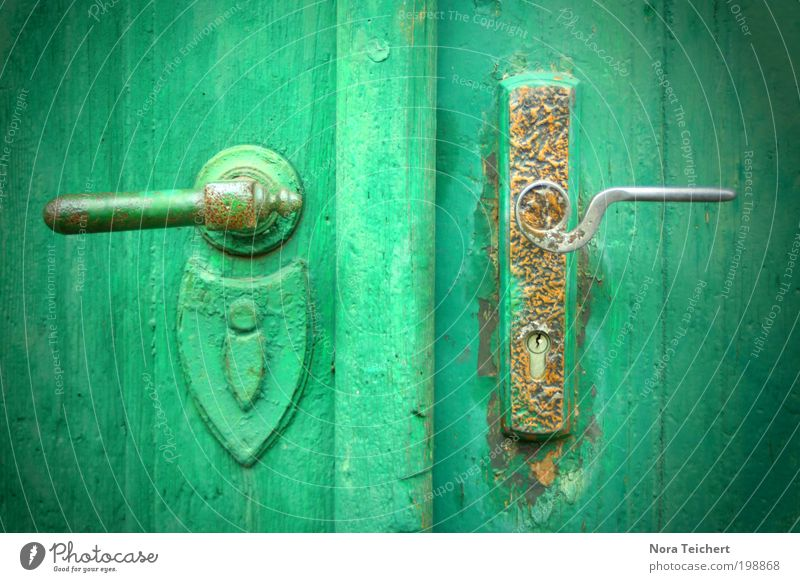 Open me up! Old town House (Residential Structure) Building Door Door handle Lock Dream Living or residing Green Moody Optimism Truth Inhibition Fear Dangerous