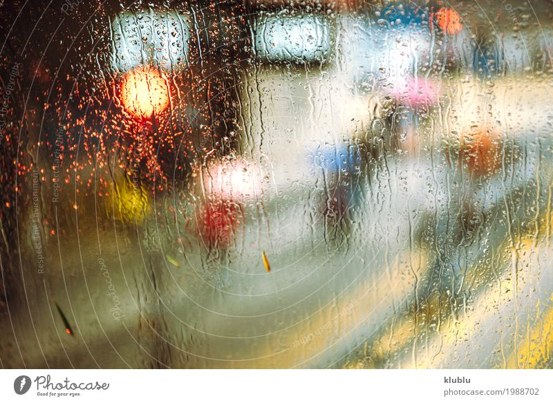 Different vehicles in a traffic jam through the rainy bus glass Jam Life Vacation & Travel Weather Rain Transport Street Vehicle Car Movement Modern Wet