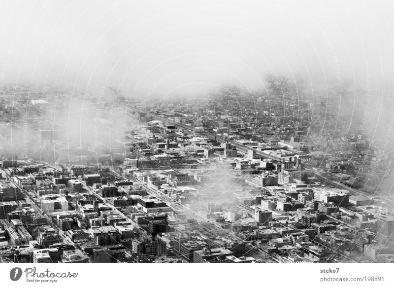 White City Black Clouds Gray Gloomy Traffic infrastructure Aerial photograph Hideous Black & white photo Ghetto Outskirts Bird's-eye view Transport Chicago