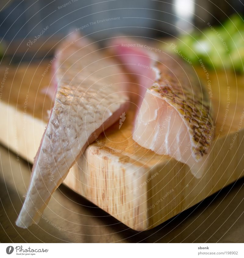 cut snapper Food Fish Lunch Dinner Sushi Appetite Nutrition Delicious Chopping board Kitchen Fresh Colour photo Interior shot Day Blur Cooking
