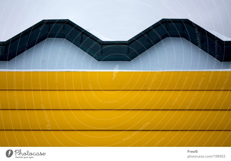 Blue Winter Yellow Wall (building) Wall (barrier) Metal Design Decoration Symmetry Outskirts Structures and shapes