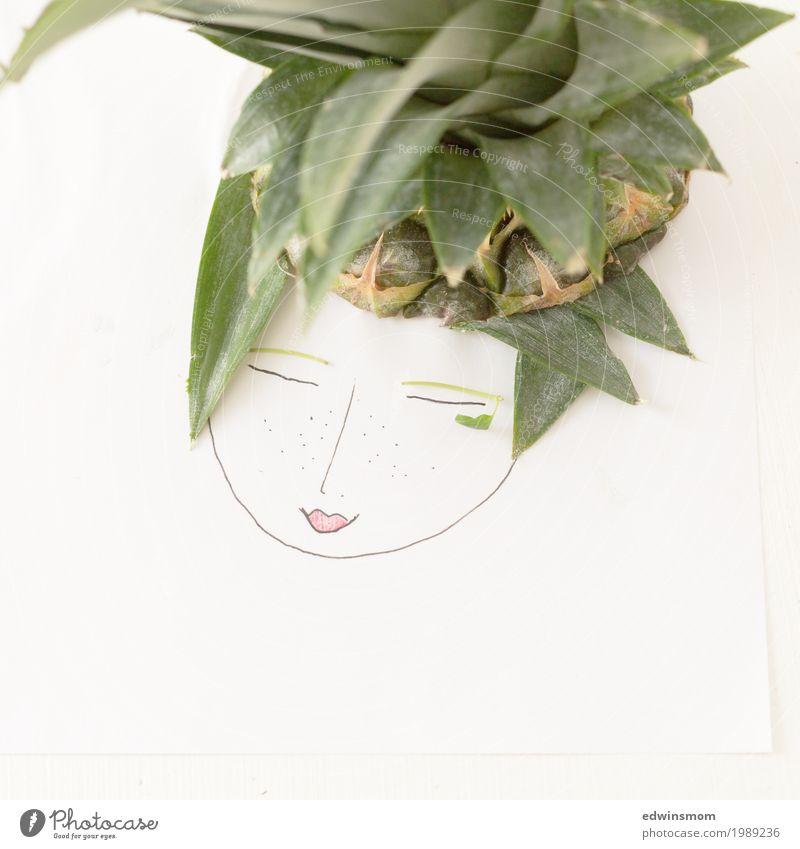 Mrs Pineapple Fruit Leisure and hobbies Handicraft Feminine Paper Decoration Smiling Draw Sleep Friendliness Bright Natural Cute Beautiful Green White Happy
