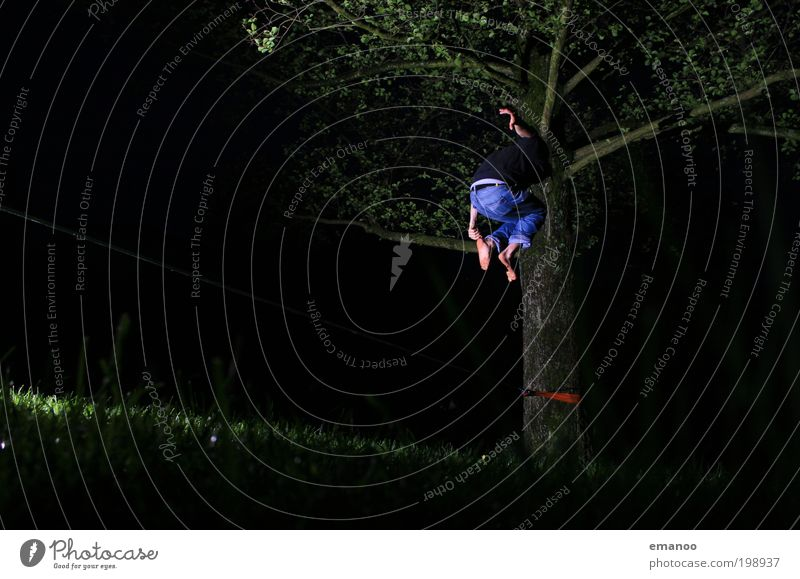 slackfun Lifestyle Joy Leisure and hobbies Freedom Climbing Mountaineering Human being Masculine Young man Youth (Young adults) 1 Nature Tree Grass Jump Tall