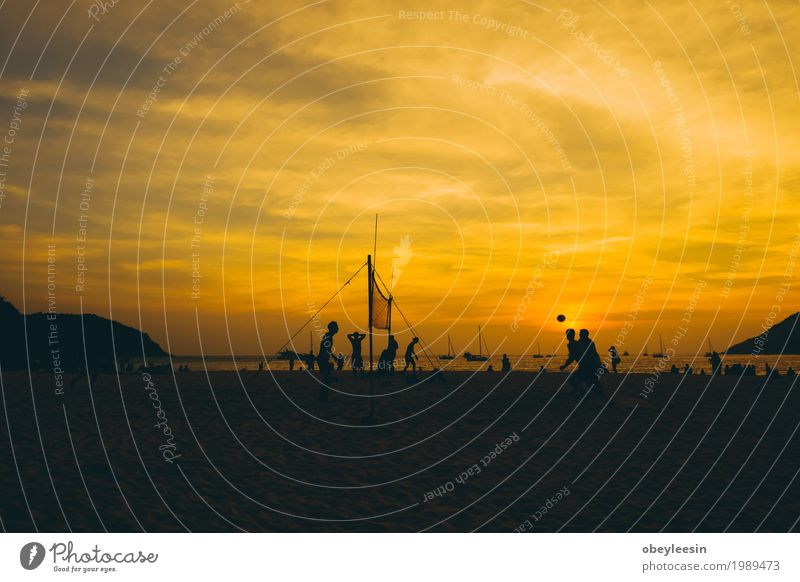 The silhouette of sunset at the beach Human being Nature Landscape Ocean Beach Lifestyle Sports Style Art Waves Adventure Bay