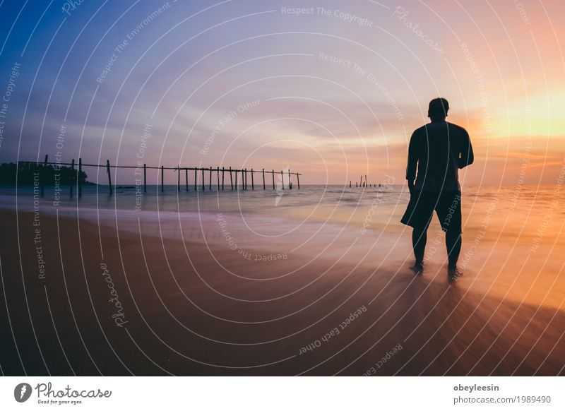 The silhouette of man standing alone at the beach Human being Nature Landscape Ocean Joy Adults Lifestyle Style Art Waves Fear Adventure Bay Artist