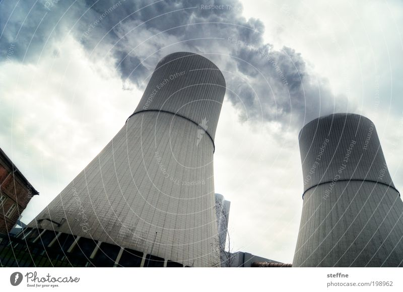 double exhaust Energy industry Coal power station Energy crisis Industry Stress Exhaust gas Chimney Thermal power station Cooling tower Environmental pollution