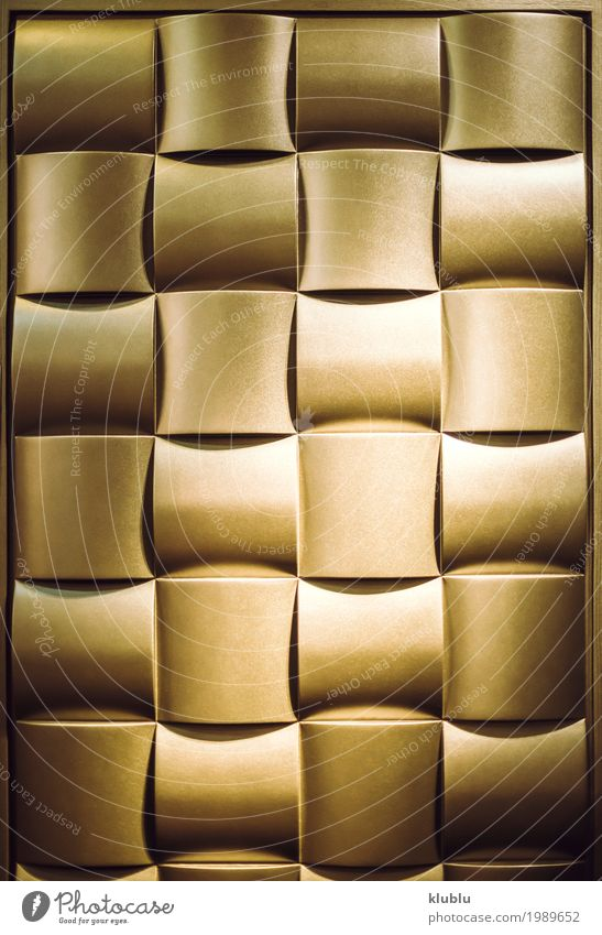 Golden wavy squares Design Decoration Art Metal Ornament Natural Brown Colour Consistency background relief shaped wall Material empty Surface frame textured
