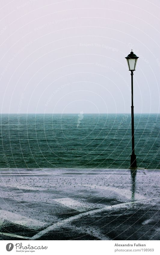 Is there a lantern... Bad weather Storm Rain Waves Lakeside Beach Bay Ocean Island Cold Wet Road traffic Lantern Lamp post Gomera Exterior shot Copy Space top