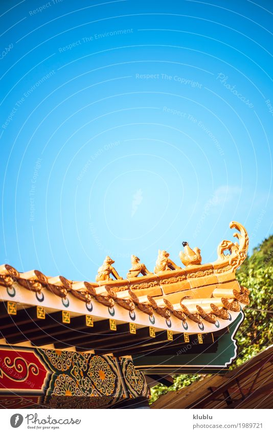 The roof of buddhist temple Vacation & Travel Old Beautiful Architecture Religion and faith Yellow Style Building Design Copy Space Decoration Culture Places