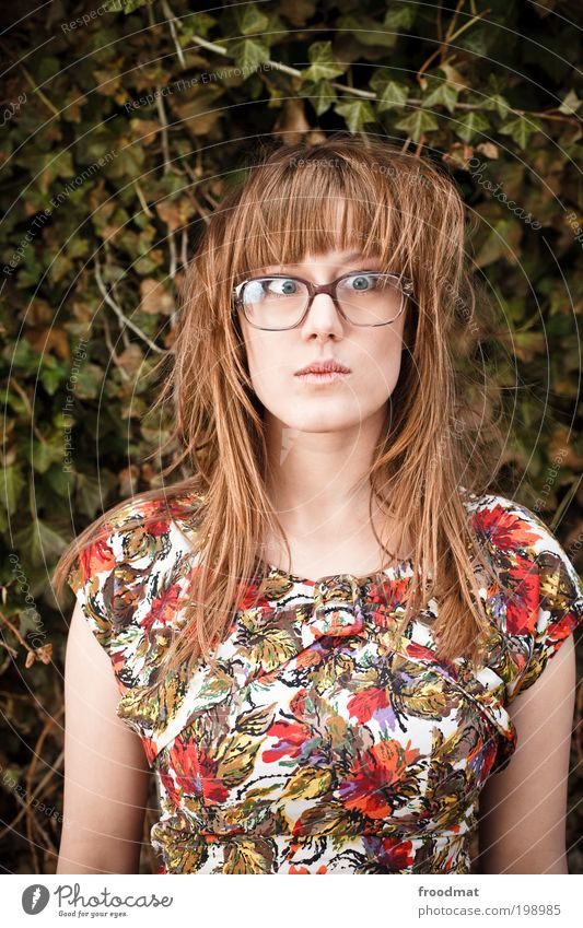 Woman Human being Youth (Young adults) Beautiful Feminine Funny Fashion Adults Crazy Retro Eyeglasses Dress Kitsch University & College student Uniqueness